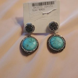 Nordstrom Rack Turquois and Rhinestone Earrings